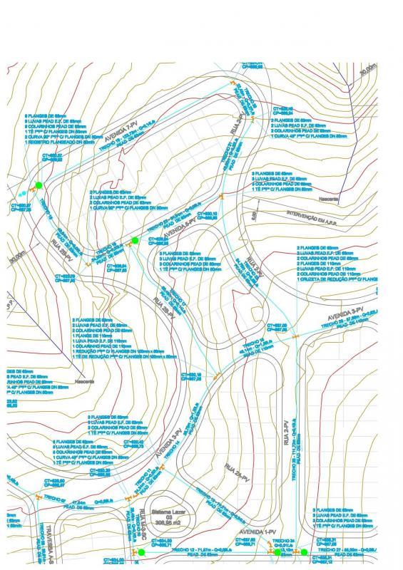 Projeto de rede de água para loteamento